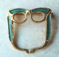Vintage Green Enamel Spectacle, Glasses Brooch By Exquisite